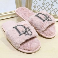 Dior Fashion New Home Bright Diamond Flat-bottomed Warm Cotton And Wool Slippers Shoes