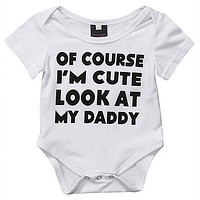 Summer 2017 Newborn Infant Baby Boys Girls Letter Printed Romper Jumpsuit Sunsuit Outfits Clothes