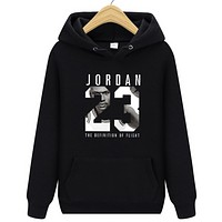 Jordan New fashion letter people print hooded long sleeve sweater Black