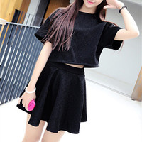 Black Loose Top and Skirt Set