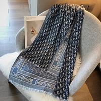 Dior classic D letter jacquard women's warm long shawl scarf