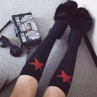 Autumn Winter Women Trend Fashion All-match Pentagram Middle Knee Socks