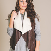 Coffee & Shopping Suede Fur Vest (Brown)-Plus Size