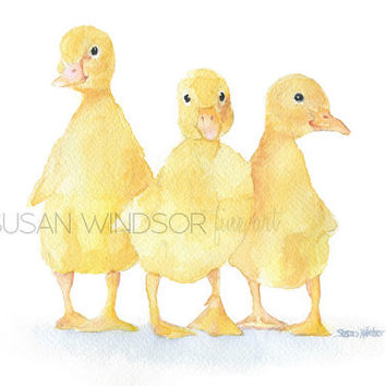 Baby Ducklings Watercolor Painting 6 x 4 - Giclee Print Reproduction - Nursery Art - Yellow Duck Art