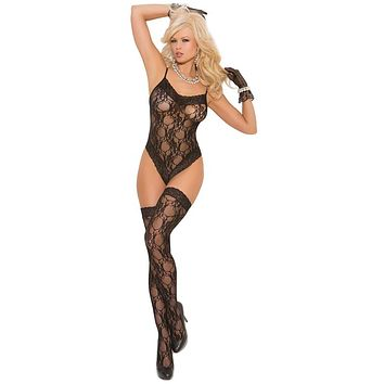 Sexy Trip Patterned Lace Teddy with Stockings