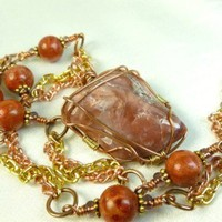 Copper Brass Wire Wrap Red Jasper Wire Wrap Pendant Red Coral Necklace