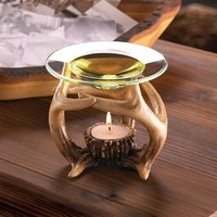 Western Style Deer Antler Tealight Candle Oil Warmer