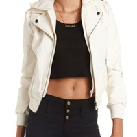 Convertible Hooded Faux Leather Moto Jacket