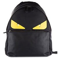 Fendi men's rucksack backpack travel stondato calfskin century occhi black