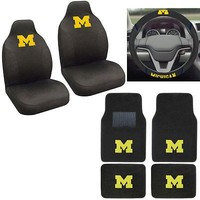 Licensed Official NCAA Michigan Wolverines Car Truck Seat Covers Floor Mats Steering Wheel Cover