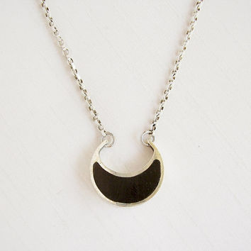 Moon Necklace in Ebony and Sterling Silver with Sterling Silver chain - Moon Pendant - Black and Silver