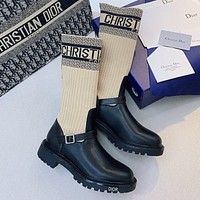 DIOR Fashion New Product Knitted Letter Embroidered One Piece Knight Boots Mid-tube High Socks Shoes