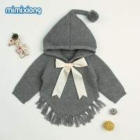 Baby Girls Sweaters Cardigans Autumn Hooded Children Knitted Pullover Fringe Toddler Kids Coats Winter Warm Infant Clothes 0-2T
