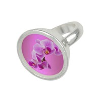Orchids Round Silver Plated Ring