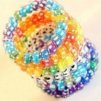 10Pcs women Girl Hairb  Headb  Telephone Cord Elastic Ponytail Holders Hair Ring Scrunchies For Girl Rubber B  Tie SM6