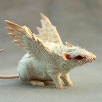 MADE TO ORDER White Rat Mouse Winged figurine art sculpture pet, Rat angel, rat totem, amulet, fairy, fantasy