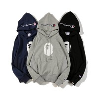 Champion Plaque Embroidery Solid Color Hooded Sweater[989119676452]