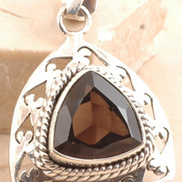 Miraculous Smoky Quartz Pendant in 925 strling silver