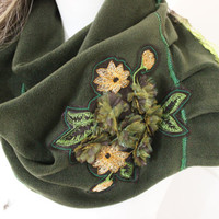 Green Scarf, Avocado scarves, Embroidered scarf, Soft scarf, Patchwork scarf, Fleece scarf avocado, Flowers scarves, Women accessories