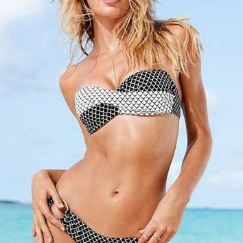 Fish Scale Pattern Bandeau Bikini Set