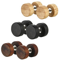 3 Pairs Assorted Stainless Steel Natural Wood Round Button Fake Cheater Ear Plug Gauge Screw Stud Earrings