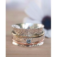 Cardiff Meditation Ring - Bronze, Copper and Sterling Silver - Blue Topaz (BJS003)