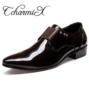 CcharmiX Men Dress Italian Leather Shoes Slip On Fashion Man Wedding Oxfords Glitter Formal Male Shoes Pointed Toe Shoes For Men