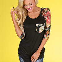 A Flower For Your Thoughts Top - Black