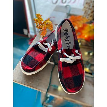 Red plaid boat shoes