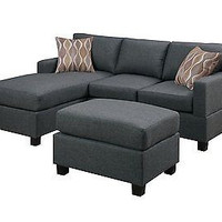 3-Piece Reversible Sectional Sofa with Ottoman, Blue Gray New Free Ship