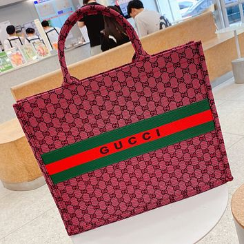GG canvas embroidered letters ladies shopping handbag