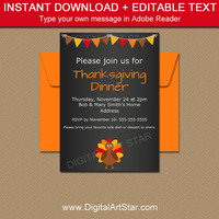 Thanksgiving Chalkboard Invitation Template - Printable Thanksgiving Invitation Download - Thanksgiving Party Printables - Friendsgiving