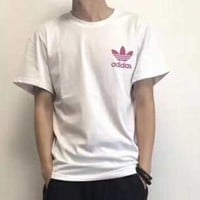 Adidas 2018 New Three Leaf Clover Pair Short Sleeved Summer Sports Sweats And Pure Color Matching T Shirts F Ag Clwm White