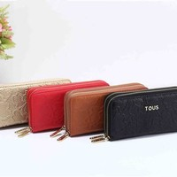 """""""TOUS"""" Women Solid Color Purse Simple Fashion Embossed Double Layer Zip Long Section Wallet Clutch"""