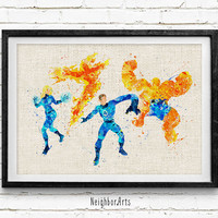 Fantastic Four, Watercolor Print, Baby Nursery Room Art, Home Decor, Not Framed, Buy 2 Get 1 Free
