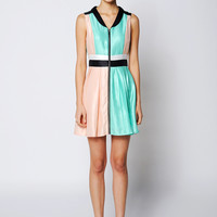 Asymmetric Color Block Zipper-Front Dress