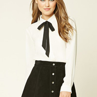 Self-Tie Bow Collar Top