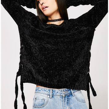 Blacked Out Lace-Up Sweater