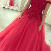 Prom Party Dresses Appliques Lace Prom Dresses 2016 Plus Size A-Line Beading Backless Sexy Evening vestidos de noche