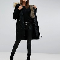 ASOS Parka with Detachable Faux Fur Liner at asos.com