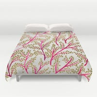 Pink & Gold Branches Duvet Cover by Cat Coquillette