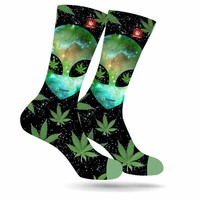 SPACE INVADERS ALIEN MARIJUANA STONER SOCKS