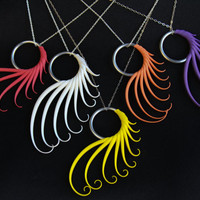 """Custom Plume Ring Necklace - You Choose the Color - on 18"""" sterling silver chain"""