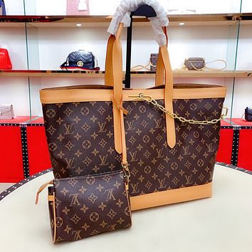 LV Cabas Voyage metal chain retro shopping bag mother bag two-piece set