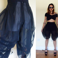 Vintage drape see through MCHammer pants black goth punk gothic