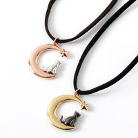 Osewaya Cat & Crescent Moon Necklace