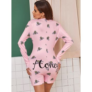 Bee & Letter Graphic Button Front Romper