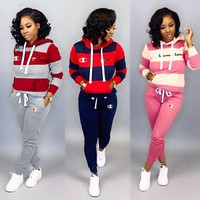 Champion New fashion embroidery letter contrast color hooded long sleeve top and pants  hooded sports two piece suit