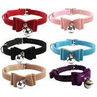 With Bell Quick Release Pet Dog & Cat Collar Kitten Velvet Bow Tie Safety Elastic 6 Colors Nice Bowtie Pet Dogs Cats Supplier