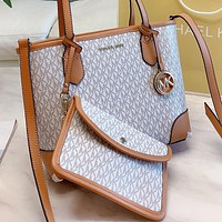 MK Fashion New More Letter Print Leather Shoulder Bag Crossbody Bag Handbag Two Piece Suit